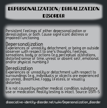 Depersonalization/Derealization Disorder description