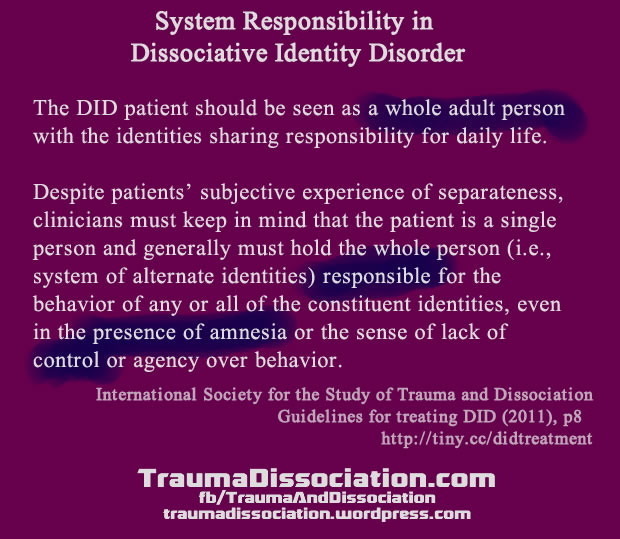 Dissociative Identity Disorder (multiple personality) and system responsibility / crime