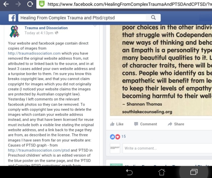 Healing from Complex Trauma and PTSD/CPTSD copyright theft by Lilly Hope Lucario - facebook message