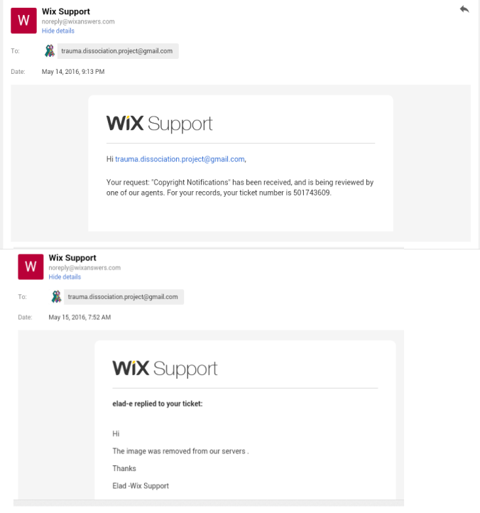 website content deleted by wix